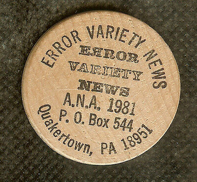 VINTAGE WOODEN NICKEL ERROR VARIETY NEWS QUAKERTOWN PA A.N.A. COINS NUMISMATIC