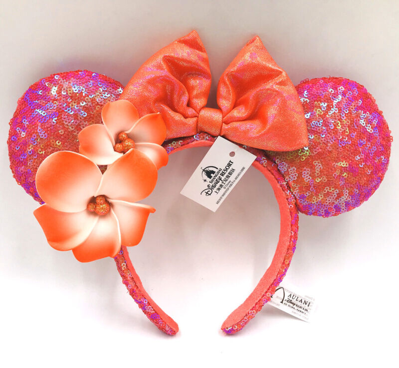 Minnie Ears Disney Parks Aulani Hawaii Orange Plumeria New Flower Headband