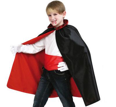 Kinderkostüm Umhang mit Schärpe schwarz-rot Vampirlook glänzend - Roter Umhang Kostüme