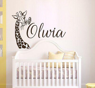 Girls Name Wall Decal, Giraffe Vinyl Sticker, Safari Nursery Wall Decor T128 (Giraffe Nursery Decor)