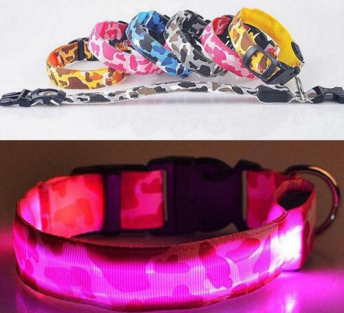 CAMOUFLAGE LED RECHARGEABLE COLLAR CAMO light-up Dog Pet Safety USB flash glow
