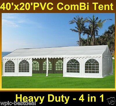 PVC ComBi Party Tent 40' x 20' White - Heavy Duty Wedding Carport Canopy