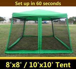 8'x8'/10'x10' Pop Up Canopy Party Tent Gazebo EZ w Net - Green