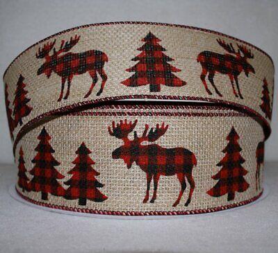 Plaid Christmas Ribbon (Christmas Ribbon Buffalo Plaid Moose and Trees  2 1/2