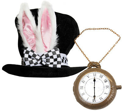 WHITE RABBIT TOP HAT BUNNY EARS INFLATABLE CLOCK - White Rabbit Outfit