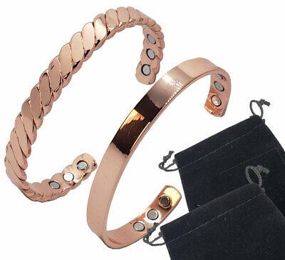 Arthritis Pain Relief Golf Copper Magnetic Bracelets Bangle Men Women w/Pouches