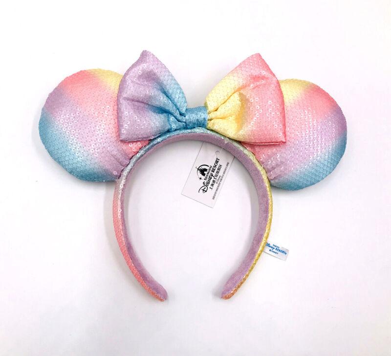 Rare Tokyo Disney Resort Minnie Ears Girl Edition Rainbow Sequins Bow Headband