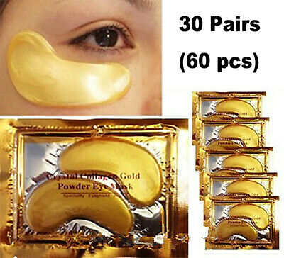 30 Pair Crystal Collagen 24k Gold Under Eye Gel Pad Face Mask Anti Aging Wrinkle