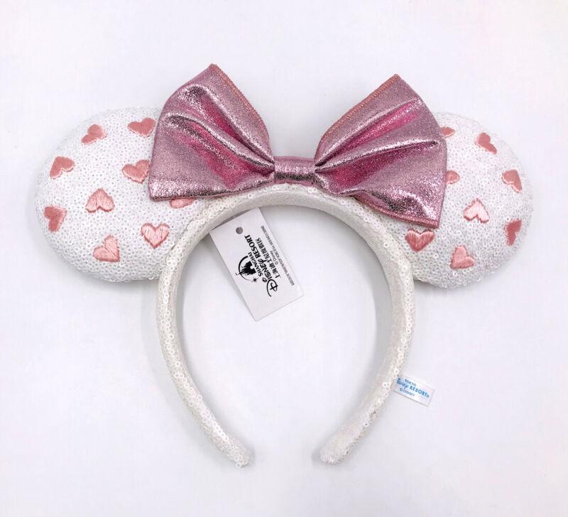 Pink Bow Disney Parks Minnie Ears White Heart Sequin Shanghai Headband