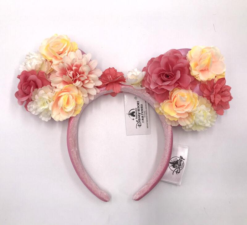 Disney Parks Peach & Pink Floral Crown Flower Minnie Ears Rare Edition Headband