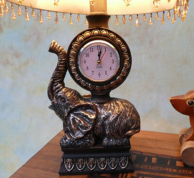 Tischlampe Lampe Schreibtischleuchte mit Uhr und Elefant antik Look edel PQ008-b