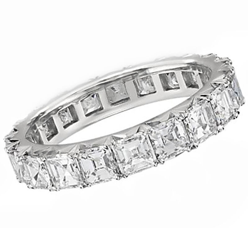 Asscher Cut 2.00 Carat Diamond Eternity Ring 18k White Gold Prong Style