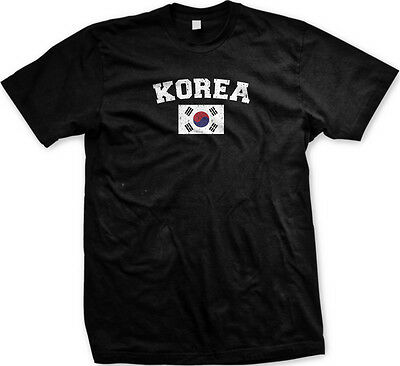 Korea Distressed Soccer Flag - Korean Nationality Pride Mens (Korea Soccer Pride T-shirt)