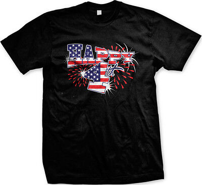 Happy Fourth 4th of July USA Flag America Patriotic United States Mens T-shirt - 4 Of July Shirts