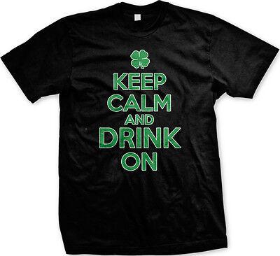 Keep Calm Drink On St Patricks Day Shamrock Lucky Charm Clover Beer Mens T-shirt