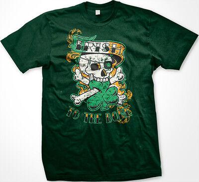 Irish To The Bone Skull Crossbones Ireland Biker Pride Tough Rough Mens - Skull Crossbones