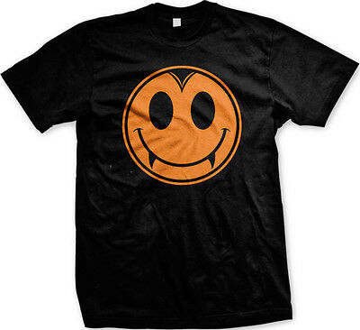 Halloween Vampire Smiley Face Fangs Teeth Horror Scary Ghost Goblin Mens T-shirt