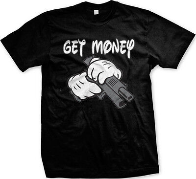 Get Money Cartoon Hands Gun Thug Swag Urban Hip-Hop Rap Lyrics Mens T-shirt - Cartoon Hands