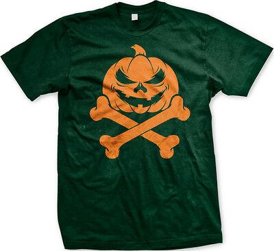 Halloween Pumpkin Jack O'Lantern Bones Scary Candy Pirate Flag Boo Men's T-Shirt ()