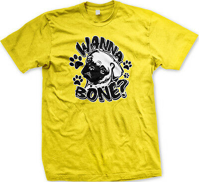Wanna Bone  Dog Paw Print Pug Want To Sex A Joke Puppy Eyes Hump Mens T Shirt