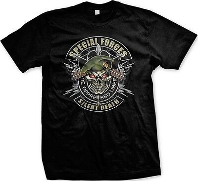 - Special Forces De Opresso Liber Silent Death- Army Skull Military- Men's T-shirt