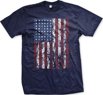 Tattered American Flag Oversized Print Usa   Mens T Shirt