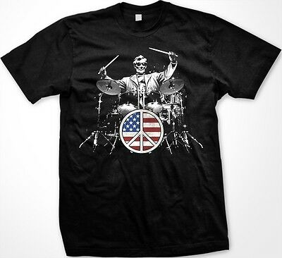 Rock And Roll 101 Abraham Lincoln Playing Drums Flag Peace Sign  Mens T Shirt