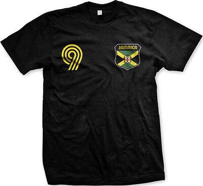 Jamaica Flag Crest National Soccer Irie Mon Football Pride Mens T-shirt