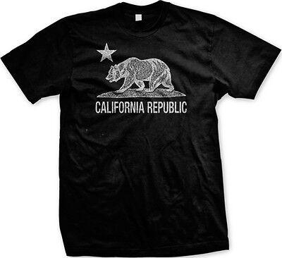 California Republic Flag Bear And Star  Cali Pride Statements  Mens T Shirt