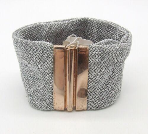 Adami & Martucci 18K Rose Gold on 925 SS Double Fold Mesh Cuff Bracelet Defect