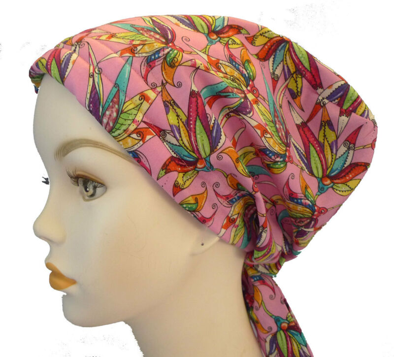 Pink Floral 100% Cotton Cancer Chemo Alopecia Hair Scarf Turban Hat Headwrap Cap