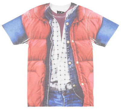 BACK TO THE FUTURE MARTY MC FLY T-SHIRT MOVIE OUTFIT COSPLAY COSTUME TEE MENS