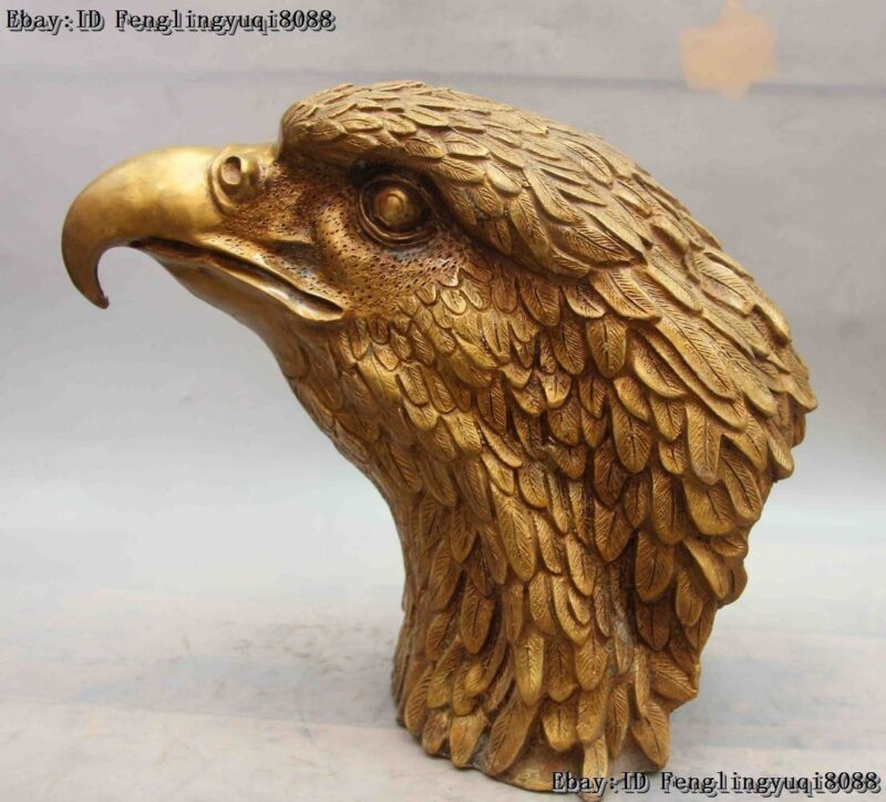 China Folk Bronze Copper Art Sculpture Eagle glede tiercel lanneret head Statue