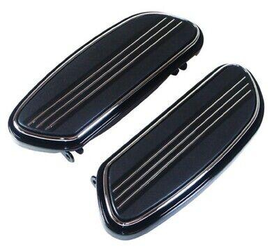 Black & Chrome Driver Floorboard Set for Harley Touring & FLST Softail 93-19