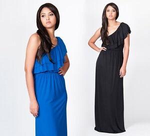 NEW-Womens-Sexy-One-Shoulder-Frill-Evening-Party-Plus-Maxi-Dress-S-M-L-XL-2X-3X
