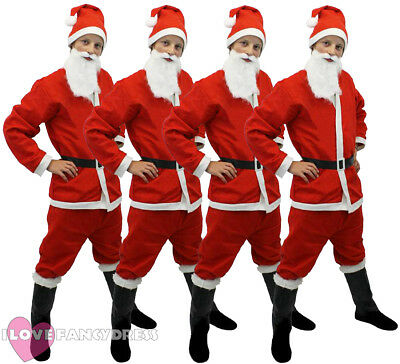 4 X SANTA SUIT 5 PIECE COSTUME CHRISTMAS GROUP FANCY DRESS XMAS PUB BAR CRAWL - Christmas Group Costumes