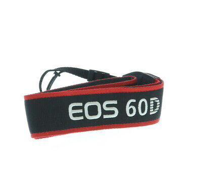 "Canon Neck Strap 1.5"" Wide Black/Red Edge Stitched Silver ""EOS 60D"" EX"