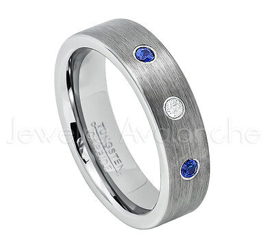 - 0.21ctw Diamond & Blue Sapphire 3-Stone Tungsten Ring, September Birthstone #019