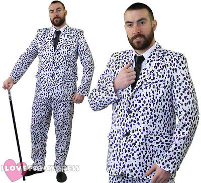 DALMATIAN PRINT SUIT MENS FANCY DRESS JACKET AND TROUSERS DOG HALLOWEEN COSTUME