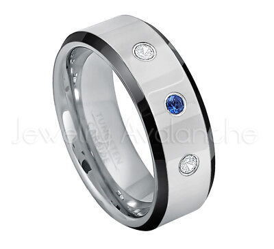 - Tungsten Ring,0.21ctw Blue Sapphire & Diamond 3-stone, September Birthstone #218