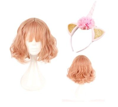 Peach/Pink Short Wavy Cosplay Wigs Halloween Dress Props with Unicorn Headband - Pink Halloween Wigs