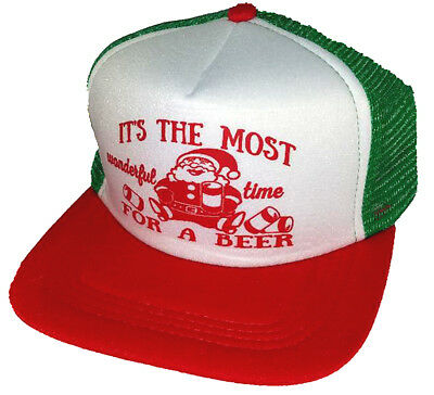 Wonderful Time Beer Ugly Christmas Sweater Party Snapback Mesh Trucker Hat Cap, used for sale  Shipping to Canada