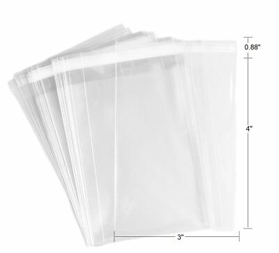 3 X 4 Crystal Clear Self Adhesive Resealable Cello Lip Tape Poly Opp Bag 2 Mil