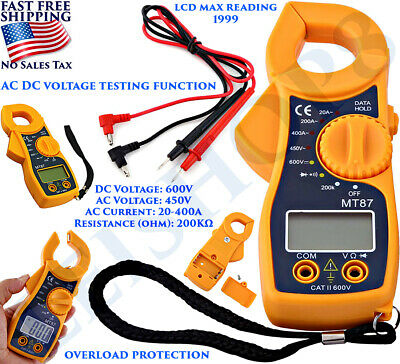 Digital Clamp Meter Tester Acdc Current Volt Amp Ohm Multimeter Lcd Handheld