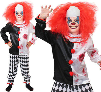 CHILDS KILLER CLOWN COSTUME BOYS GIRLS HORROR SCARY HALLOWEEN FANCY DRESS