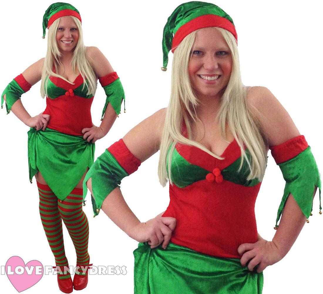 Christmas Red Green Velour Elf Hat Bells Xmas Santa Helper Fancy Dress Hat