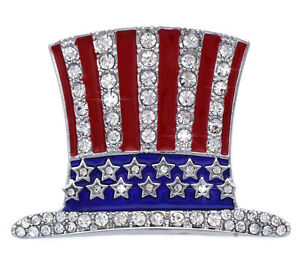 Uncle Sam Hat July 4th Independence Day USA American Flag Design Brooch Pin p70