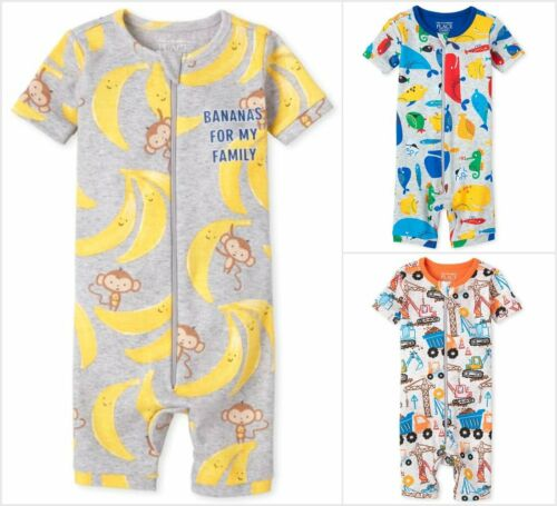 NWT The Childrens Place Monkey Sea Animals Construction Romper Sleeper Pajamas