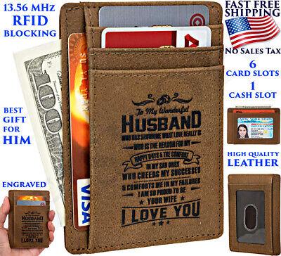 SLIM WALLET BEST ENGRAVED GIFT FOR HUSBAND MEN RFID 7 SLOTS ANNIVERSARY