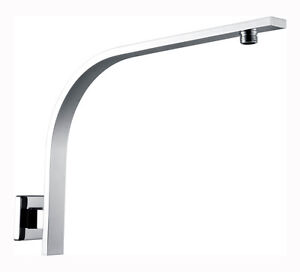 Square gooseneck shower arm extension for head rose brass chrome wall mounted